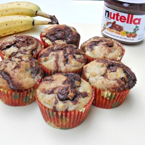 Przepis na muffiny z bananami, czekoladą i nutellą